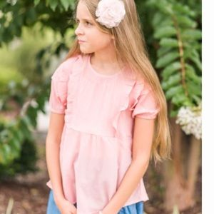 Pink Ruffle Short Sleeve Shirt